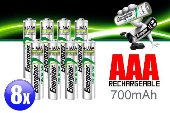 8x Energizer AAA Rechargeable NiMH 700mAh Battery