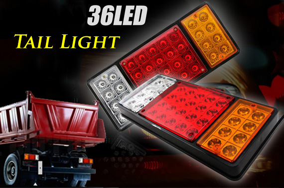 12V 36 LED Truck Tail Lights (1 Pair)