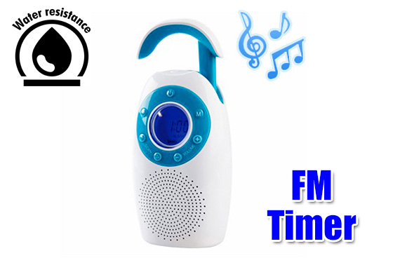Battery operated Water Resistant/splash proof FM & Timer Shower Radio