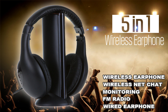 5 in 1 Cordless Stereo Headphones with FM Radio