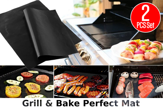 Set of 2 Non-stick BBQ Grill & Bake Perfect Mat