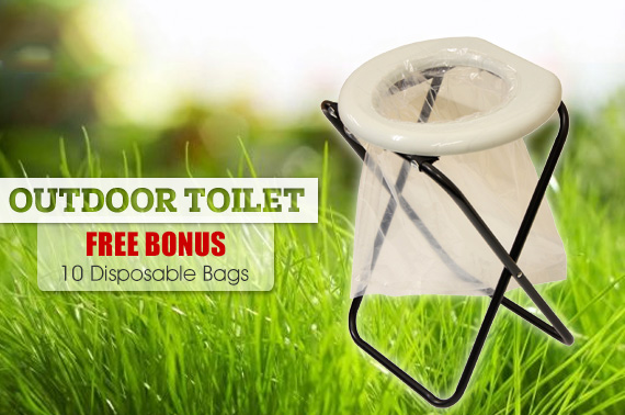 Portable Folding Outdoor Camp Toilet with Bonus 10 Disposable Bags