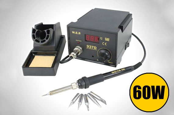 Digital Display 60W Soldering Iron Station w/ 6 Tip Leads
