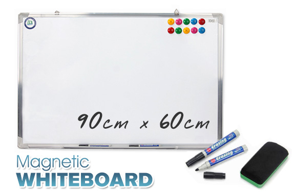 Magnetic Portable Whiteboard w/ Bonus Marker Eraser and Magnetic Buttons