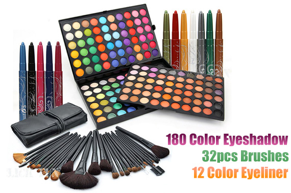 3-in-1 180 Color Eyeshadow Palette + 32pcs Makeup Brush set +12 Color Eyeliner