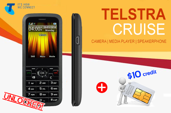 Unlocked Telstra Cruise Pre-Paid Mobile Phone + $10 Credit SIM Card