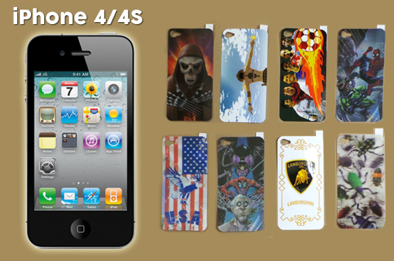 2x Set of iPhone 4/4S 3D Screen Protectors with Design Pattern (For Him)