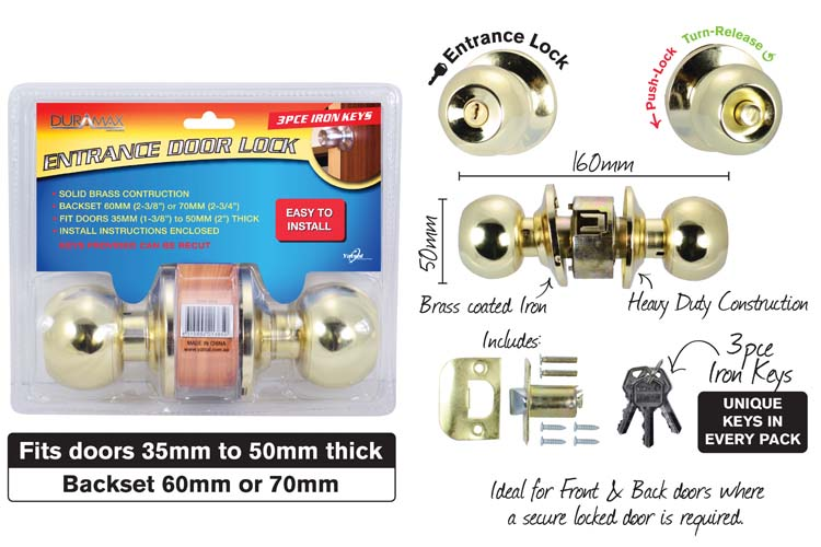 1pce Entrance Door Lock-3pce Keys-Gold