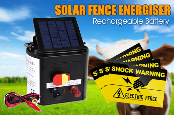 5km Solar Power Electric Fence Energiser w/ Warning Sign