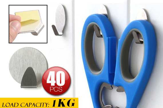 40 Pieces Self-Adhesive Wall Hooks
