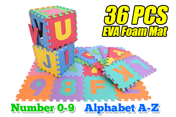 36pcs Baby Alphabet Number Interlocking EVA Foam Floor Mat