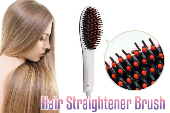 Fast Hair Straightener Brush with LCD display - White