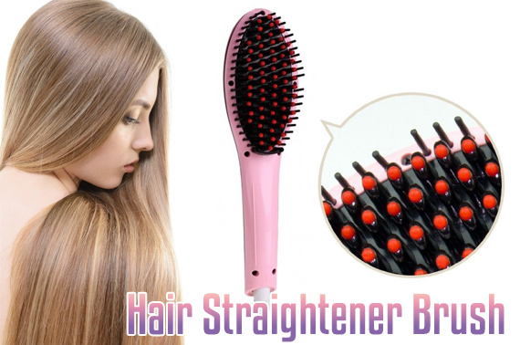 Fast Hair Straightener Brush with LCD display - Pink