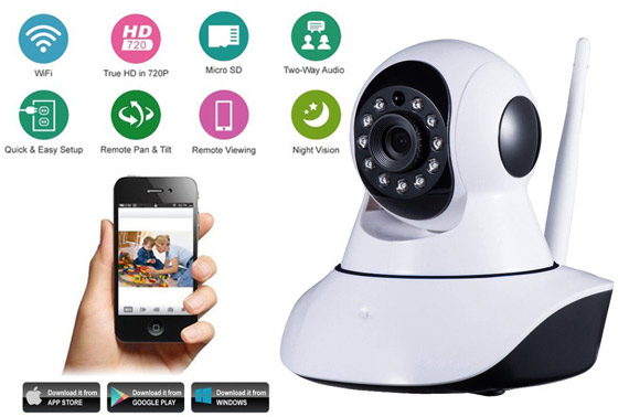 HD 720p Wireless IP PTZ CCTV Camera w/ Night Vision