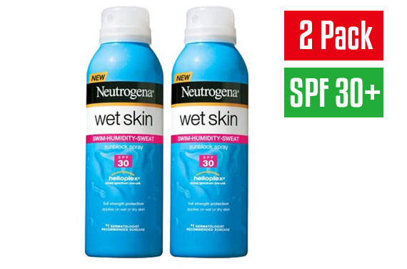 2x Neutrogena Wet Skin Sunblock Spray Set with SPF 30