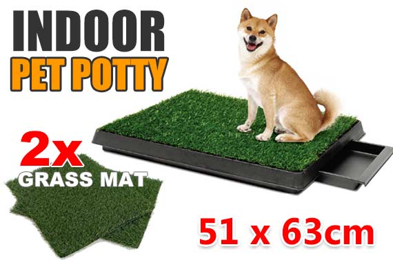 Dog Pet Toilet Training Tray w/ 2 Grass Mat