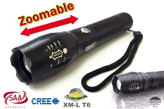 6000LM XML-T6 LED Rechargeable Zoom Flashlight