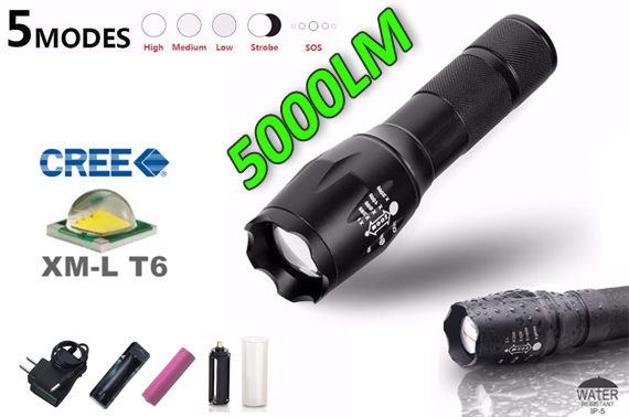 5000LM X800 XML-T6 CREE LED Rechargeable Flashlight