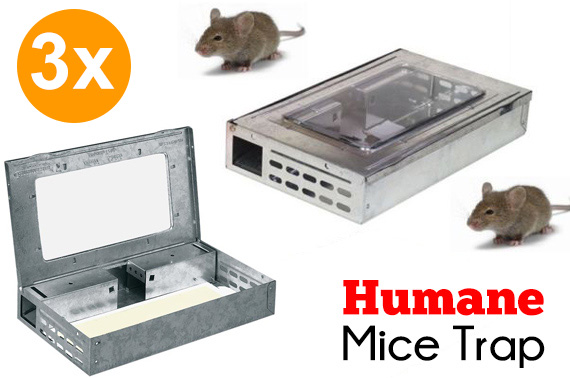 3x Live Self Catching Humane Mice Metal Trap