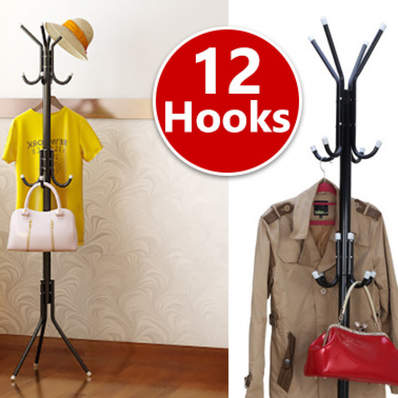 12 Hook 3-Tier Coat Hat Clothes Metal Rack - Black