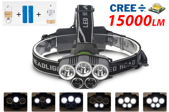 15000LM XM-L CREE LED Rechargeable Headlamp
