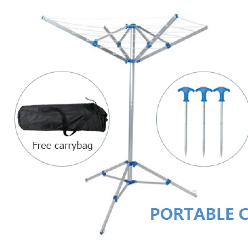 Portable 4-Arm Aluminium Camping Clothes Line with Free Bag