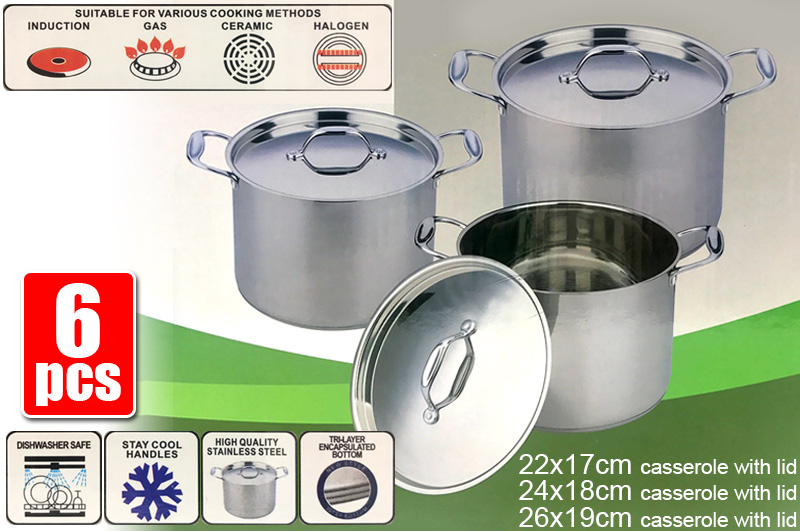 6 Pieces Stainless Steel Stock Pot Cookware Set
