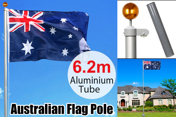 6.2M Aluminium Australian Telescoping Flag Pole Set