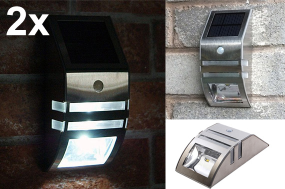 2x Stainless Steel LED Solar Light with Motion Sensor