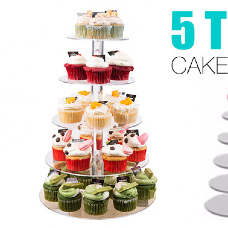5-Tier Acrylic Clear Round Cake Stand