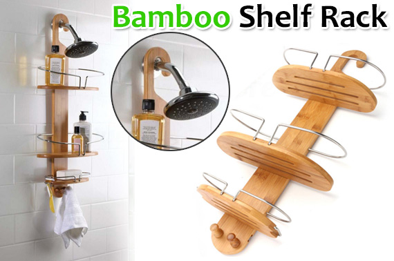 3-Tier Bamboo Shower Holder Shelf Rack