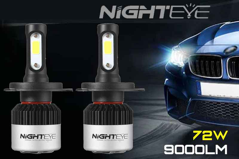 2PCS NIGHTEYE H4 LED Headlight Hi/Lo Beam Bulb Kit
