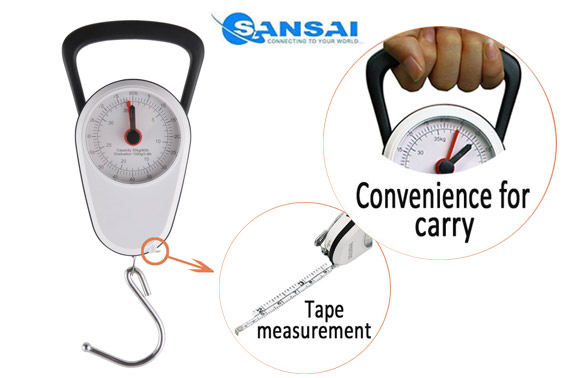 Stop and Lock Luggage Mechanical Scale w/ Built-in Tape Measurement