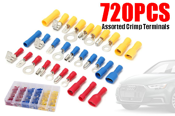 720Pcs Assorted Insulated Crimp Terminals Electrical Wire Connector