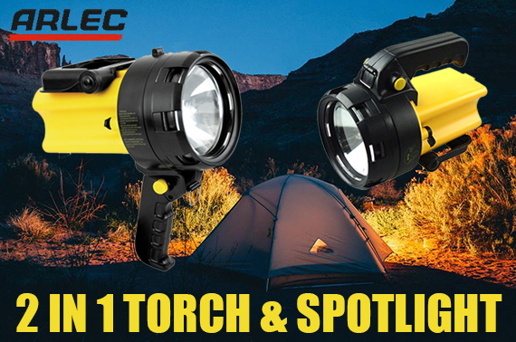 ARLEC Rechargeable Torch and Spotlight Weatherproof Hand Flashlight