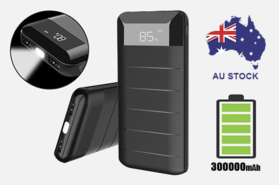 Portable 300000mAh External Power Bank Pack 2USB Battery Charger