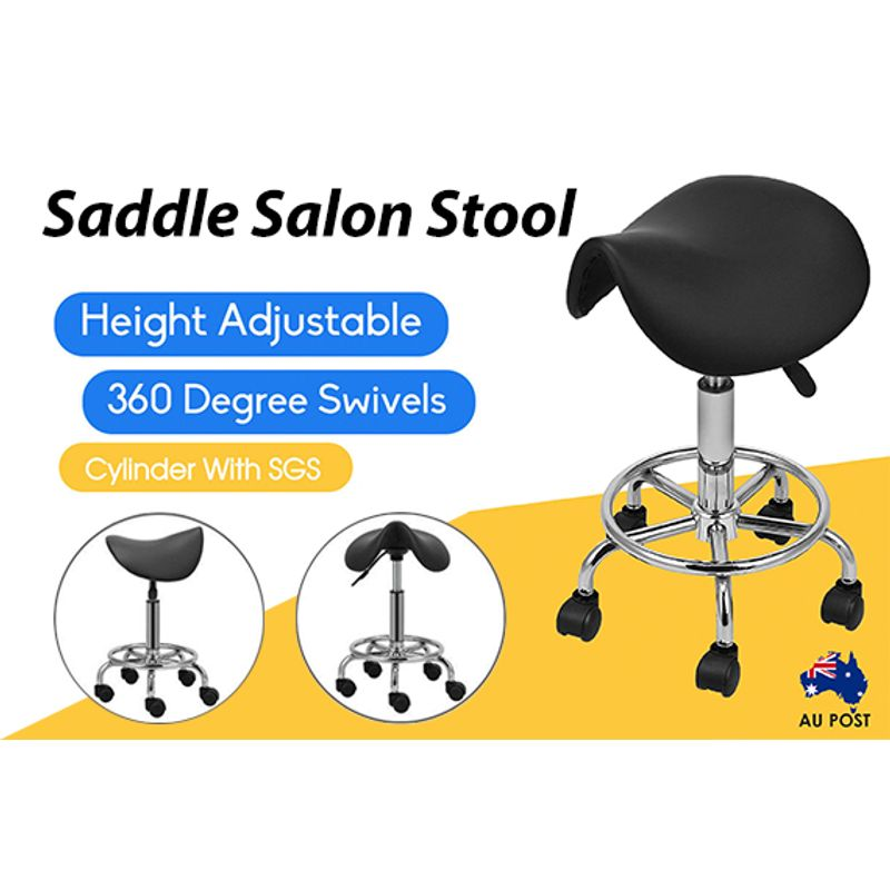 Saddle Salon PU Leather Swivel Stool Chair