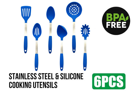 6PCS Stainless Steel & Silicone Kitchen Cooking Utensils Set BPA Free