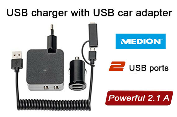 MEDION USB Travel Charger with Car Adapter 5 V, powerful 2.1 Amp