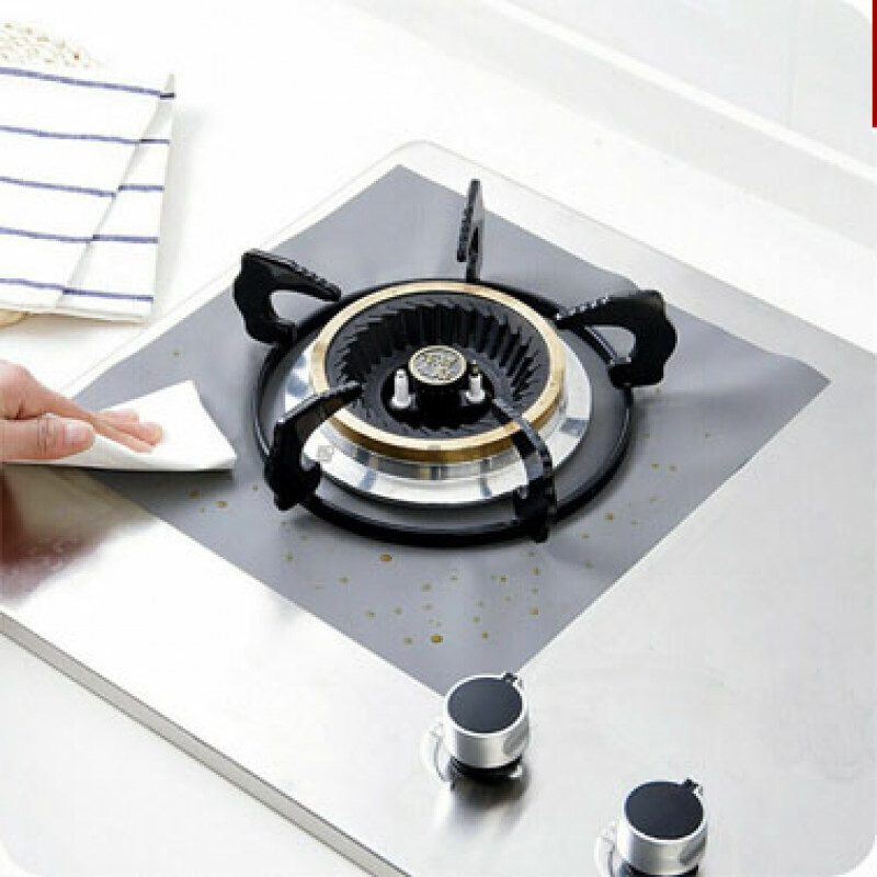 Kitchen Gas Stove Top Burner Reusable Protector Liner Cleaning Pad Cover 4pcs Silver