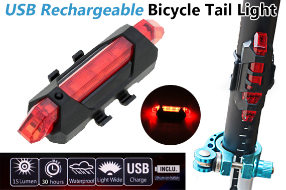 Bicycle 5 Tail LED USB Rechargeable Head Light Tail Light Warning Red
