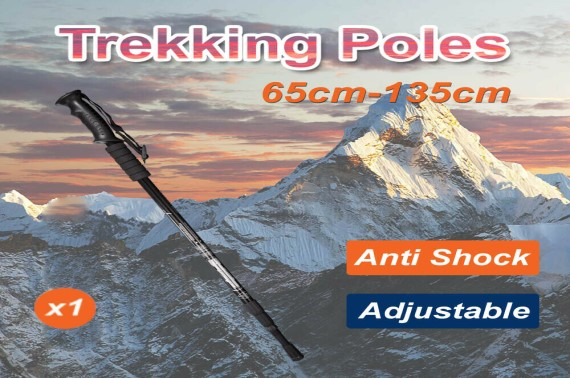 Anti Shock Adjustable Lightweight Hiking Trekking Poles Walking Stick