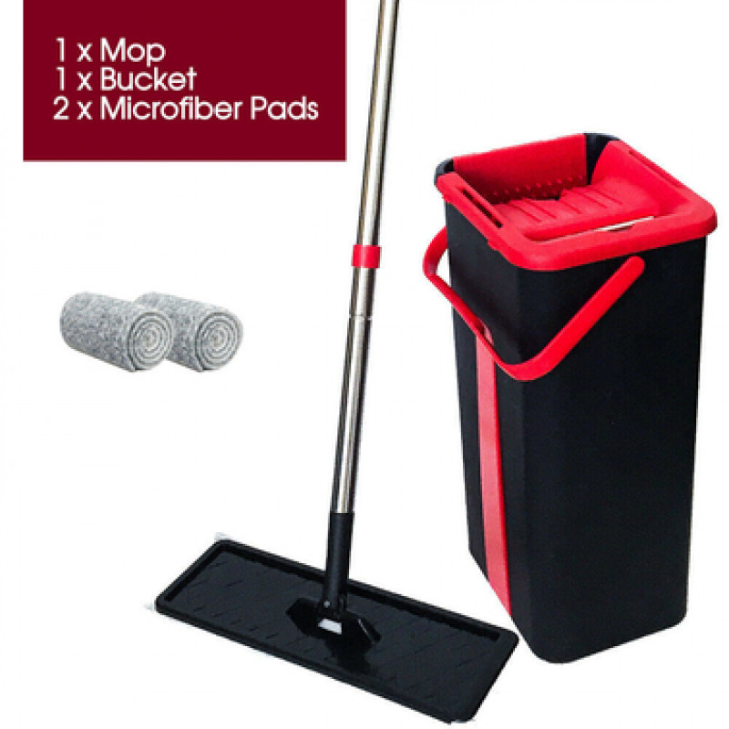 Microfibre Flat Mop and Bucket Floor Cleaner Set with 2 Pads