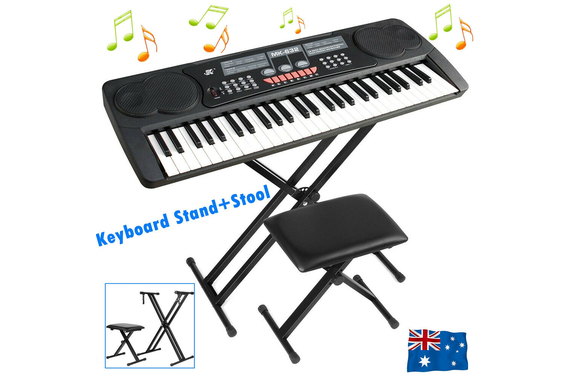 Adjustable Keyboard Stand + Portable Folding Piano Stool Set
