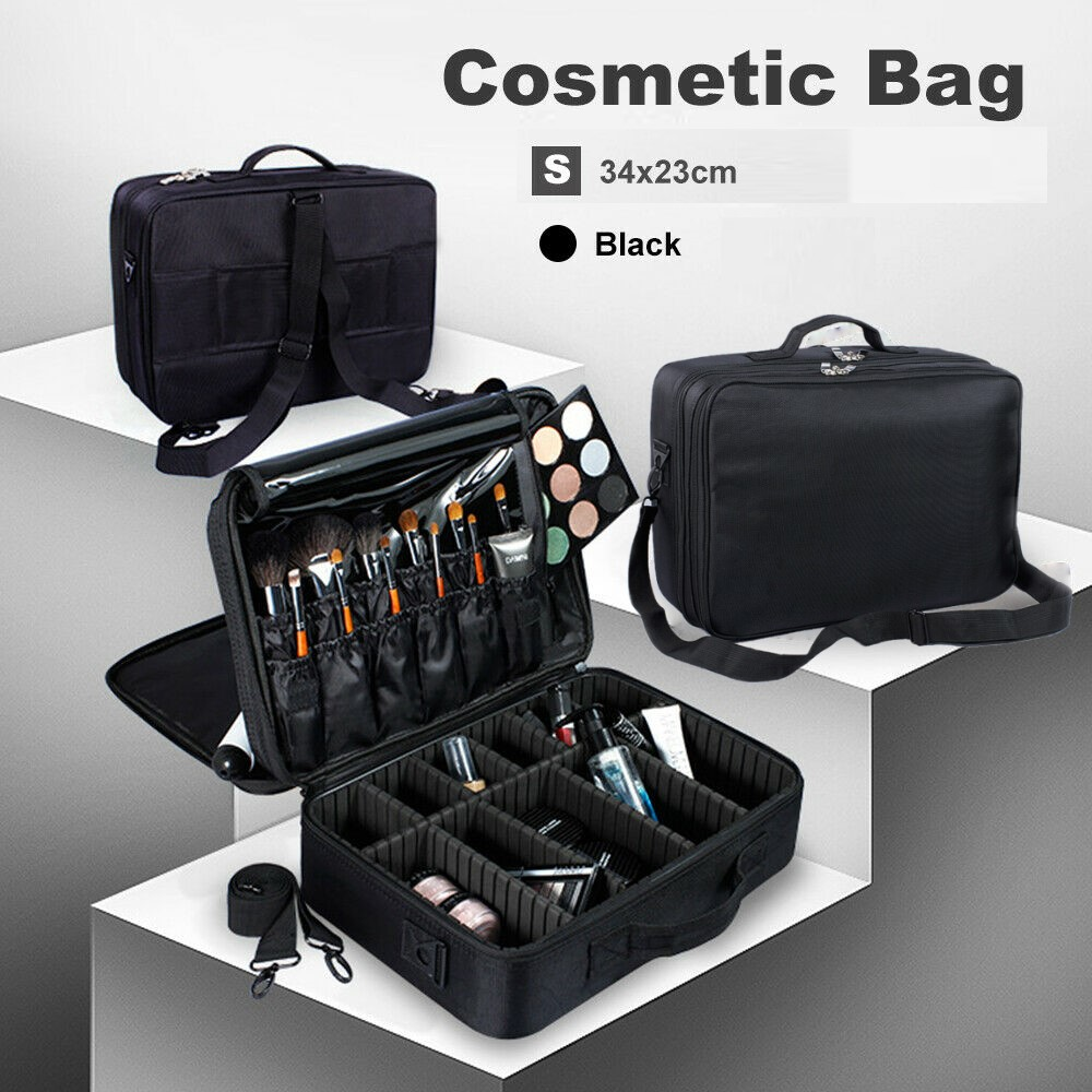 Portable Makeup Bag Cosmetic Make up Case Storage Box Travel Black