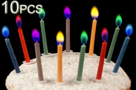 FREE Ozstock Day: 10 Amazing Colour Flame Birthday Candles with Holders (2x 5-Pack)