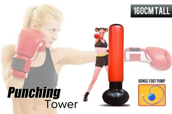 Inflatable 1.6M Free Standing Fitness Punching Tower with Pump