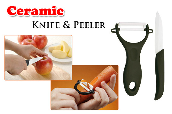 Sharp Ceramic Fruit Knife and Peeler Set Kit