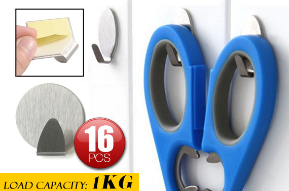 16 Pieces Self-Adhesive Wall Hooks