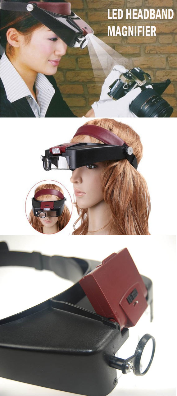 Head Mounted Magnifier With Led Light Designed For